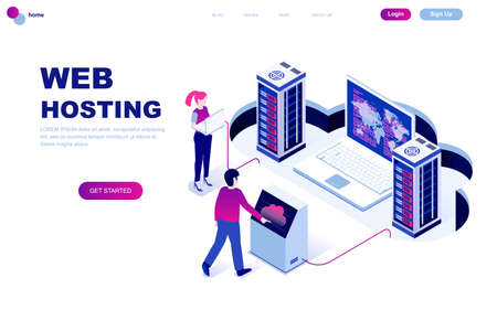 Modern flat design isometric concept of Web Hosting decorated people character for website and mobile website development. Isometric landing page template. Vector illustration. Banco de Imagens - 123975265