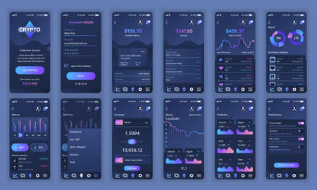 Set of UI, UX, GUI screens Cryptocurrency app flat design template for mobile apps, responsive website wireframes. 일러스트