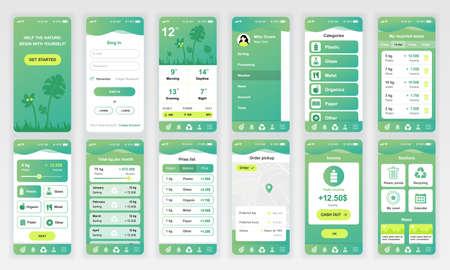 Set di schermate UI, UX, GUI Modello di design piatto per app di ecologia per app mobili, wireframe di siti Web reattivi.