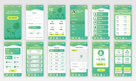 Set of UI, UX, GUI screens Ecology app flat design template for mobile apps, responsive website wireframes.