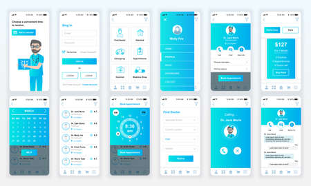 Set of UI, UX, GUI screens Medicine app flat design template for mobile apps, responsive website wireframes. Vettoriali