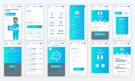 Set of UI, UX, GUI screens Medicine app flat design template for mobile apps, responsive website wireframes. Illustration