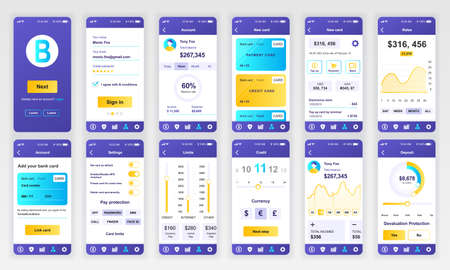 Conjunto de pantallas de UI, UX, GUI Plantilla de diseño plano de la aplicación bancaria para aplicaciones móviles, wireframes de sitios web receptivos. Ilustración de vector