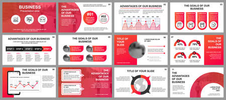 Business presentation slides templates from infographic elements. Can be used for presentation template, flyer and leaflet, brochure, corporate report, marketing, advertising, annual report, banner. Vektorové ilustrace