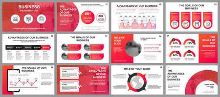 Vorlagen für Business-Präsentationsfolien aus Infografik-Elementen. Kann für Präsentationsvorlagen, Flyer und Broschüren, Broschüren, Unternehmensberichte, Marketing, Werbung, Geschäftsberichte und Banner verwendet werden. Vektorgrafik