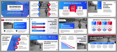 Business presentation slides templates from infographic elements. Can be used for presentation template, flyer and leaflet, brochure, corporate report, marketing, advertising, annual report, banner. Vectores