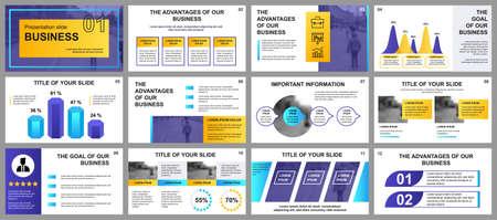 Vorlagen für Business-Präsentationsfolien aus Infografik-Elementen. Kann für Präsentationsvorlagen, Flyer und Broschüren, Broschüren, Unternehmensberichte, Marketing, Werbung, Geschäftsberichte und Banner verwendet werden.