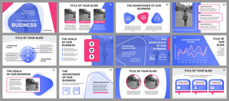 Business presentation slides templates from infographic elements. Can be used for presentation template, flyer and leaflet, brochure, corporate report, marketing, advertising, annual report, banner. Vector Illustration