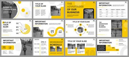 Modelli di diapositive di presentazione aziendale da elementi infografici. Può essere utilizzato per modello di presentazione, flyer e depliant, brochure, report aziendale, marketing, pubblicità, relazione annuale, banner.