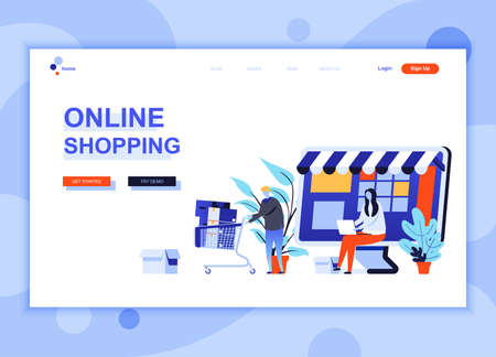 Modern flat web page design template concept of Online Shopping decorated people character for website and mobile website development. Flat landing page template. Vector illustration.