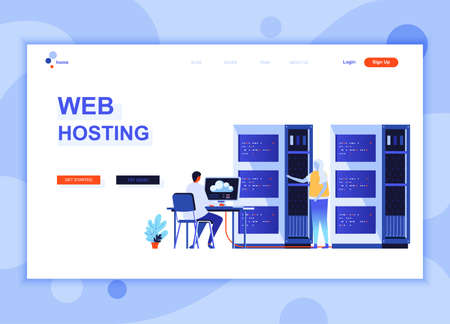 Modern flat web page design template concept of Web Hosting decorated people character for website and mobile website development. Flat landing page template. Vector illustration.