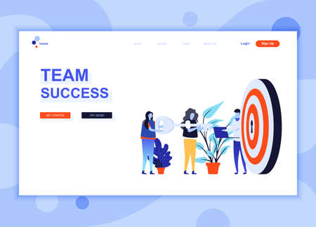 Modern flat web page design template concept of Team Success decorated people character for website and mobile website development. Flat landing page template. Vector illustration.