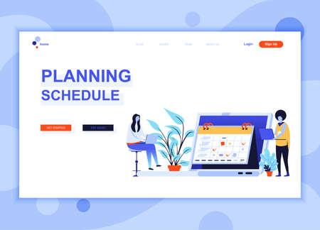 Modern flat web page design template concept of Planning Schedule decorated people character for website and mobile website development. Flat landing page template. Vector illustration. Illustration