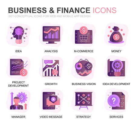 Modern Set Business and Finance Gradient Flat Icons for Website and Mobile Apps. Contains such Icons as Analysis, Money, Accounting, Strategy, Bank. Conceptual color flat icon. Vector pictogram pack. Stock Illustratie