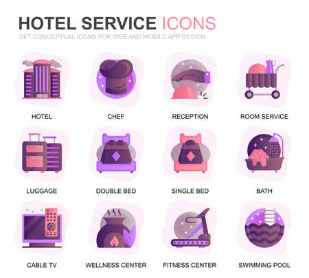 Modern Set Hotel Services Gradient Flat Icons for Website and Mobile Apps. Contains such Icons as Luggage, Reception, Room Services, Fitness Center. Conceptual color flat icon. Vector pictogram pack.