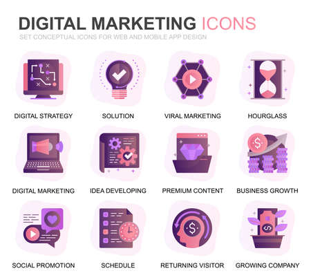 Modern Set Business and Marketing Gradient Flat Icons for Website and Mobile Apps. Contains such Icons as Digital Strategy, Global Solution, Market. Conceptual color flat icon. Vector pictogram pack. Stock Illustratie