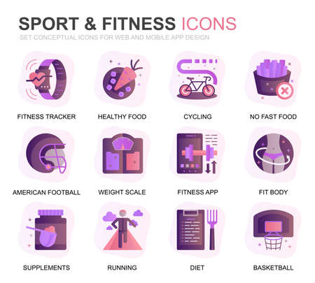 Modern Set Sport and Fitness Gradient Flat Icons for Website and Mobile Apps. Contains such Icons as Fit Body, Swimming, Fitness App, Supplements. Conceptual color flat icon. Vector pictogram pack.