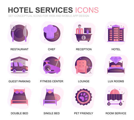 Modern Set Hotel Service Gradient Flat Icons for Website and Mobile Apps. Contains such Icons as Restaurant, Room Services, Reception. Conceptual color flat icon. Vector pictogram pack.