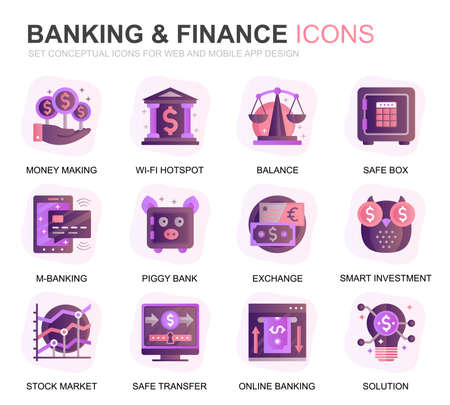 Modern Set Banking and Finance Gradient Flat Icons for Website and Mobile Apps. Contains such Icons as Balance, E-Banking, Auction, Financial Growth. Conceptual color flat icon. Vector pictogram pack.