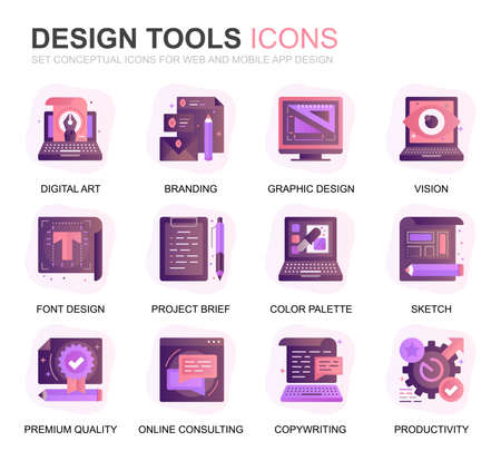 Modern Set Design Tools Gradient Flat Icons for Website and Mobile Apps. Contains such Icons as Creative, Developing, Precision, Vision, Sketch. Conceptual color flat icon. Vector pictogram pack. Stock Illustratie