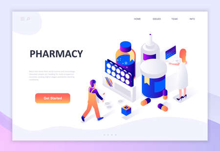 Modern flat design isometric concept of Pharmacist in Pharmacy decorated people character for website and mobile website development. Isometric landing page template. Vector illustration.