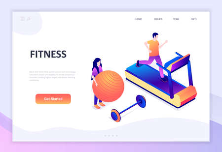 Modern flat design isometric concept of Fitness decorated people character for website and mobile website development.