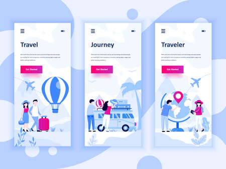 Set of onboarding screens user interface kit for Travel, Journey, Traveler, mobile app templates concept.