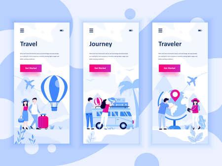 Set von Onboarding-Bildschirmen-Benutzeroberflächen-Kit für Reisen, Reisen, Reisende, mobile App-Vorlagenkonzept.