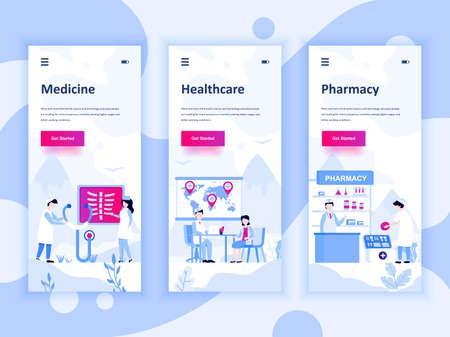 Set onboarding-schermen gebruikersinterfacekit voor geneeskunde, gezondheidszorg, apotheek, sjablonen voor mobiele apps.