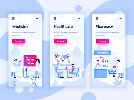 Set von Onboarding-Bildschirmen für die Benutzeroberfläche für Medizin, Gesundheitswesen, Pharmazie, Konzept für mobile App-Vorlagen.