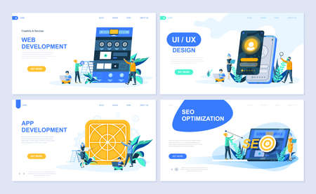 Set of landing page template for Web and App Development, UI Design, SEO Optimization. Modern vector illustration flat concepts decorated people character for website and mobile website development.