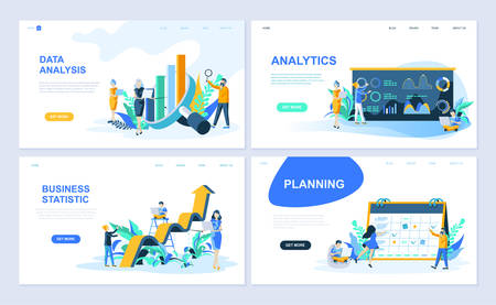 Satz von Zielseitenvorlagen für Datenanalyse, Analyse, Geschäftsstatistik, Planung. Flache Konzepte der modernen Vektorillustration verzierten Leutecharakter für Website- und mobile Websiteentwicklung.