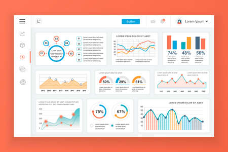 Dashboard admin panel vector design template with infographic elements, chart, diagram, info graphics. Website dashboard for ui and ux design web page. Vector illustration. Stock Illustratie