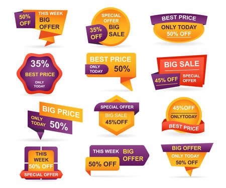 Set of retail sale tags. Stickers best offer price and big sale pricing tag badge design. Limited sales offer label or store discount banner card isolated. Shopping coupon. Vector illustration. Vetores