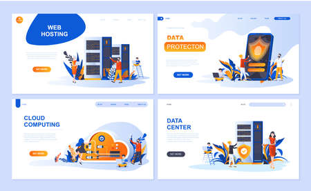 Set of landing page template for Hosting, Data Protection, Data Center, Cloud Computing.