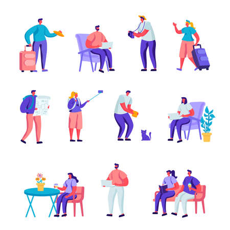 Set of Flat Diverse Young People with Luggage and Maps Traveling Characters. Cartoon People Tourist Characters Staying at Night, Accommodation for Travelers. Vector Illustration.