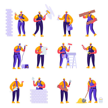 Set of Flat Professional Construction Workers Engineers Characters. Ilustração