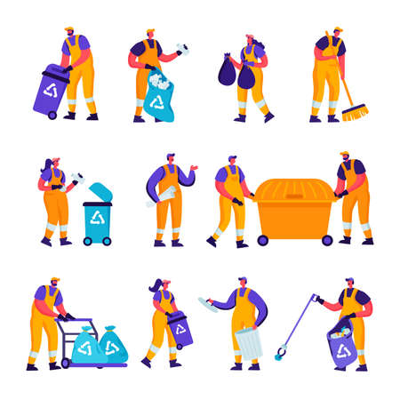 Set of Flat Garbage Recycling and Metallurgy Factory Workers Characters. Cartoon People Ecology Protection and Pollution Industry Employees, Welder, Scavengers Collect Litter. Vector Illustration. Vettoriali