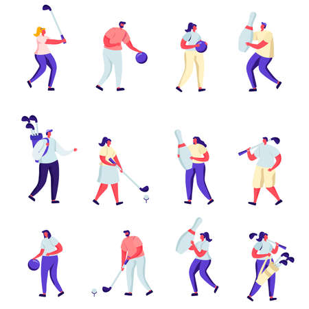 Set of Flat People Playing Golf and Bowling Characters. Cartoon Summertime Outdoors and Indoors Fun Activity, Healthy Lifestyle. Vector Illustration. Иллюстрация