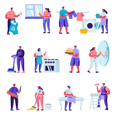 Set of Flat Householders Characters Cleaning Home Characters