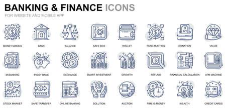 Set semplici icone della linea bancaria e finanziaria per siti Web e app mobili Vettoriali