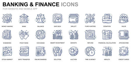 Simple Set Banking and Finance Line Icons for Website and Mobile Apps Vecteurs