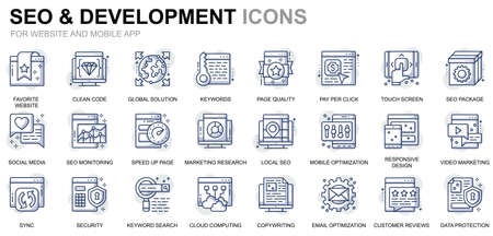 Simple Set Seo and Development Line Icons for Website and Mobile Apps. Contains such Icons as Clean Code, Data Protection, Monitoring. Conceptual color line icon. Vector pictogram pack.
