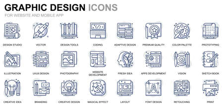 Simple Set Web and Graphic Design Line Icons for Website and Mobile Apps Illustration