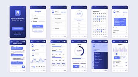 UI、UX、GUI画面モバイルアプリ、応答性のウェブサイトのワイヤーフレームのためのバンキングアプリフラットデザインテンプレートのセット。 ベクターイラストレーション