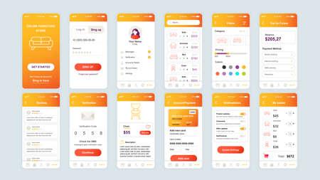 Set of UI, UX, GUI screens Shopping app flat design template for mobile apps, responsive website wireframes. Vector Illustration