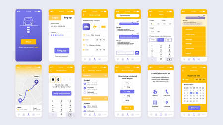 Set of UI, UX, GUI screens Delivery app flat design template for mobile apps, responsive website wireframes.