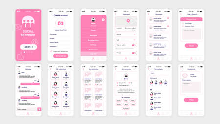 Set of UI, UX, GUI screens Social Network app flat design template for mobile apps, responsive website wireframes. 矢量图像