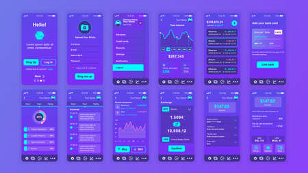 Set of UI, UX, GUI screens Cryptocurrency app flat design template for mobile apps, responsive website wireframes.
