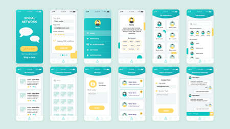 Set of UI, UX, GUI screens Social Network app flat design template for mobile apps, responsive website wireframes. Çizim